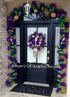 Mardi Gras Wreath with Fleur de Lis, crown, ornaments, & decorative picks and matching 22' Mardi Gras garland  Jayne's Wreath Designs on FB and Instagram