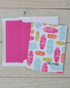 Dawn Woleslagle for Wplus9 featuring Fanciful Feathers stamps and A2 Envelope Liner die.