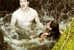 kristen and rob filming the waterfall scene in breaking dawn part one
