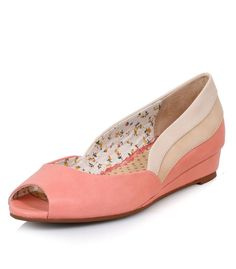 0c238afbc1a New collection from Bettie Page Shoes the Ayla Flats in pink have lighter  shades of pink detail trim with open toe peep hole and a wedge heel.