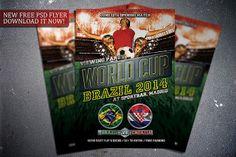 Free World Cup flyer template. Download it for free here:  http://flipngecko.deviantart.com/art/Free-Soccer-World-Cup-2014-Flyer-Template-455851427