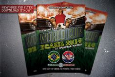 Free World Cup flyer template. Download it for free here:  http://flipngecko.deviantart.com/art/Free-Soccer-World-Cup-2014-Flyer-Template-455851427