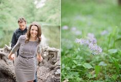 Woodsy Wisconsin engagement session: Cute belted dress with long necklace & pretty curls!