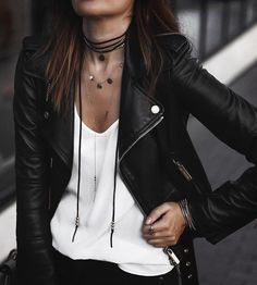 black faux leather jacket (on sale!) and choker necklace @lauryncakes