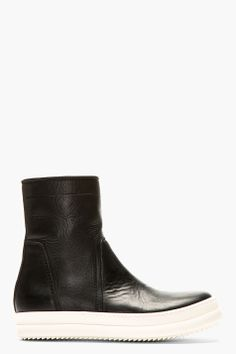 RICK OWENS BLACK & WHITE Leather Minimalist BOOTS