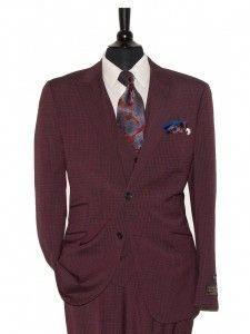 1addaea51331 Tiglio Lux Men s Suit - MADE IN ITALY - Wine   Black Windowpane  italywine
