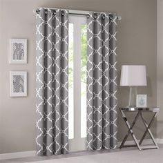 Madison Park Saratoga Window Curtain - Grey - Panel Refresh your room with the decorative fretwork window panel. The scroll geometric print is simple yet trendy, featuring a light grey ground with a . Printed Curtains, Grey Curtains, Window Curtains, Grey And White Curtains, Window Treatments Living Room Curtains, Decorative Curtains, Curtains Living, Living Room Grey, Living Room Decor