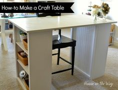 DIY craft table via www.houseontheway.com. I created this craft table from two small bookcases and an old table top.