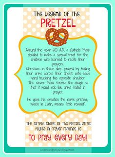 LDS ACTIVITY DAYS Pretzels and Prayer Activity and lesson. GREAT lesson for Family Home Evening FHE or Primary, Scouts, Young women or any religious group. Legend of the Pretzel Printable from Sunshine and Melody at sunshineandmelody. Primary Activities, Young Women Activities, Activities For Girls, Church Activities, Indoor Activities, Summer Activities, Church Games, Fhe Lessons, Primary Lessons