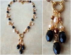 This beautiful necklace is made up of black onyx stones and accented with clusters of champagne freshwater pearls and Austrian crystal. It features a pendant combining a sculpted 24 karat gold plated infinity circle, highlighted with three strand of black onyx stones. This piece is