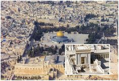 END OF THE WORLD: Jerusalem third temple 'fulfils Biblical prophecy' of the end times Jewish Temple, Temple In Jerusalem, Third Temple, Dome Of The Rock, Temple Mount, End Of The World, Temples, Paris Skyline, Bible