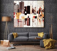 New York, Colorful Downtown, Large Architectural Cityscape Canvas Art Print. Rustic Brown URBAN Canvas Art Print up to 48 by Irena Orlov  Wall Art Decor for Home, Office or Hotel  URBAN ART  With a harder approach and industrial elements, my urban art is ideal for the loft owner or edgy boutique Urban Rustic Painting Print on Canvas – 8 Sizes Available  So striking, this is my Urban Painting – a canvas print of my original artwork. I also give you the option to have the print hand…