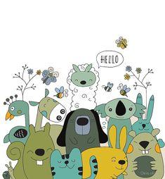 Vector illustration of Doodle cute animal background ,cartoon sketch animals illustration Cartoon Sketches, Animal Sketches, Animal Doodles, Doodle Art, Art Drawings, Cute Animals, Canvas Prints, Pets, Illustration