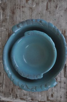 Beautiful example of the Aqua glaze on Gracetone Pottery pieces from the Orbit dinnerware line. Gracetone was associated with Frankoma Pottery for several years, ca. 1959-62.