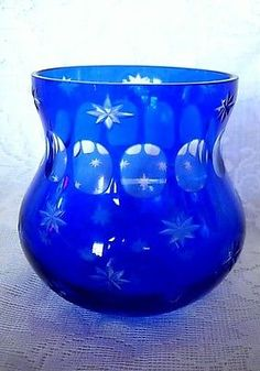 Impressive-Cobalt-Blue-Cut-to-Clear-Glass-Rose-Bowl-Votive-Vase