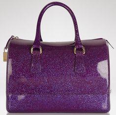 Furla Candy Satchel Purple Glitter Pink Lilac Garment Bags Fashion