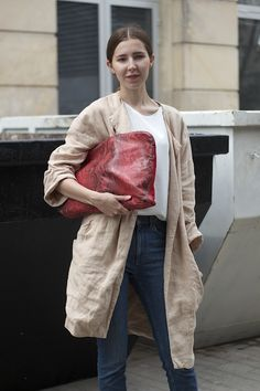 Linen jacket and bag
