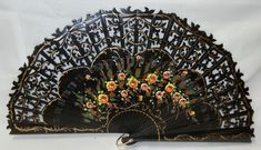 Gorgeous all hand carved Pear Tree wood with small hand painted yellow flowers and tiny dots of green and red. Carving of upper part simulates lace, finished with painted fine lines in gold. Antique Fans, Vintage Fans, Painted Fan, Hand Painted, Hand Held Fan, Hand Fans, Fan Decoration, Kawaii, Yellow Flowers