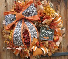 Fall Deco Mesh Wreath - Fall Front Door Wreath - Fall Mesh Wreath - Autumn Deco…