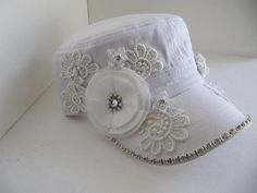 White Hat, Wedding Hat, Cadet Hat, Military Hat, Brides Hat, Bridal Hats,Sworovski Crystal Hat,  Bling Hat, Rhinestone Hat on Etsy, $37.00