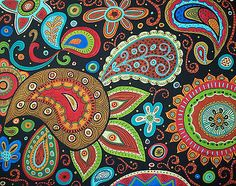 RUG-HOOKING-CRAFT-PAPER-PATTERN-Paisley-Groove-ABSTRACT-FOLK-ART-Karla-Gerard