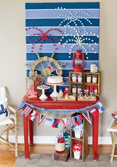 $2.99 Foam Core Board @ Michael's covered with 1/2 yard of fabric - easy party table backdrop!