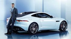 F Type Jaguar with some bloke who kicks a football around a field...