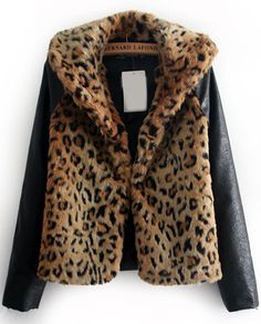 Leopard Contrast PU Leather Long Sleeve Jacket