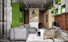 Casinha colorida: Um loft cinematográfico em verde abacate