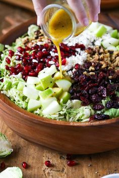 Brussels Sprout Salad {SO GOOD!} - Spend with Pennies Brussels Sprout Salad with crisp tart apples, feta cheese, cranberries, pomegranate arils and walnuts all tossed in a honey dijon vinaigrette. Shaved Brussel Sprout Salad, Shredded Brussel Sprouts, Brussels Sprouts, Cranberry Salad, Pomegranate Salad, Pomegranate Recipes, Vegetarian Recipes, Healthy Recipes, Healthy Brussel Sprout Recipes