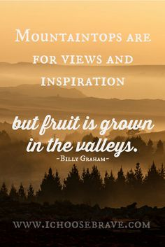 Love this quote! So much growth in the valleys.
