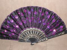 Vintage Black with Purple Beaded Folding Fan by yesteryearglam