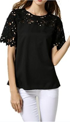 JELLO Lady Lace Cape Collar Cutout Crochet Batwing Sleeve Tops Blouse Black Large Jell-O http://www.amazon.com/dp/B00XNN19XS/ref=cm_sw_r_pi_dp_G2nvvb14Z6ZV0