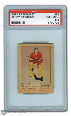 Terry Sawchuk Rookie Card - Parkhurst Hall of Fame Goaltender. Hockey Goalie, Ice Hockey, Total Hockey, Hockey Cards, Baseball Cards, Red Wings Hockey, Go Red, Detroit Red Wings, Nhl