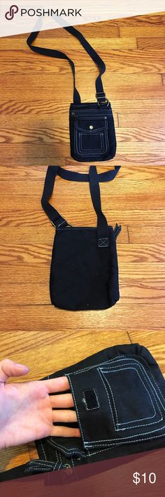 """Small Black Crossbody Bag Never used! Was a gift.  Multiple pockets for convenient storage!  """"Aged brass"""" colored hardware. Bags Crossbody Bags"""