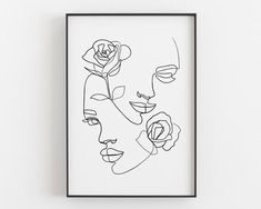 Woman face with rose Printable line art Face line art Abstract Drawings, Art Drawings, Abstract Art, Face Line Drawing, Drawing Hair, Drawing Faces, Drawing Tips, Gemini Art, Gemini Horoscope