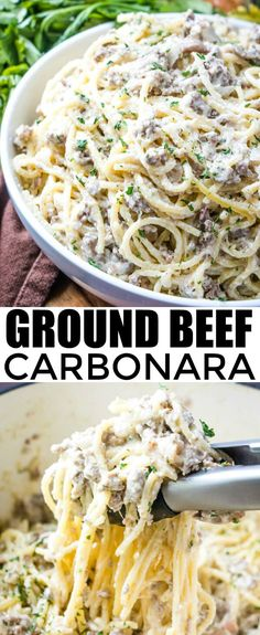 meaty and flavorful this Ground Beef Carbonara is a serious family hit full of flavor and goodness that no one can resist!Creamy, meaty and flavorful this Ground Beef Carbonara is a serious family hit full of flavor and goodness that no one can resist! Ground Beef Recipes For Dinner, Dinner With Ground Beef, Healthy Dinner Recipes, Indian Food Recipes, Cooking Recipes, Ground Beef Recepies, Easy Ground Beef Meals, Ground Beef Crockpot Recipes, Venison Recipes