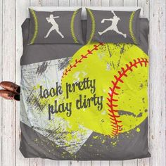 Softball Bedding Set - Look Pretty Play Dirty - Pink, Gray, Blue & Yellow. Available In Twin, Queen/Full and King size Fastpitch Softball, Softball Players, Softball Mom, Softball Stuff, Softball Things, Softball Nails, Softball Gifts, Girls Softball Room, Softball Gear