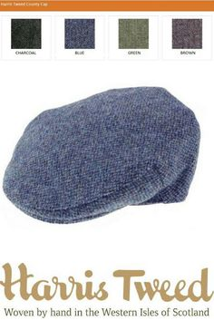 0abad7f05dc Authentic Harris Tweed County Cap in 4 Colours. Made in Scotland. Available  in sizes