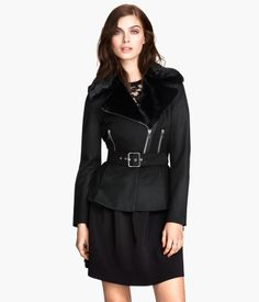 H&M Black Fur Collar Wool Blend Coat $80