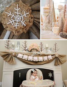 Kara's Party Ideas Rustic Shabby Winter Wonderland Girl 1st Birthday Party Planning Ideas
