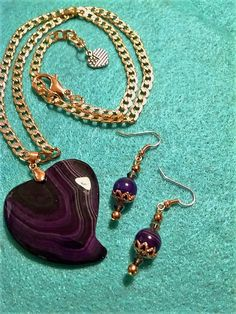 DISCOUNT  VALENTINE LOVE. Purple Heart Necklace by MyGrandmasHome