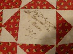 Stray Threads: Quilts & Textiles. 1848 quilt from Xenia Cord's collection.