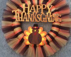 Yarn and tulle Thanksgiving turkey wreath by OkieWreath on Etsy
