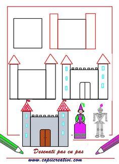 Castelul cavalerului- desen pas cu pas Diagram, Chart, Draw, To Draw, Sketches, Painting, Tekenen, Drawing