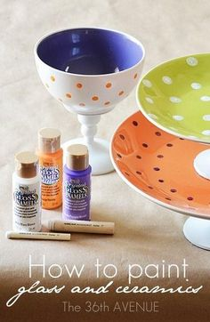 Paint and make your own ceramic candy stands - use a candleholder and a müslibowl -