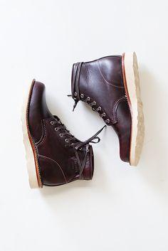 "Chippewa 6"" Plain Toe Wedge Boot in Cordovan"