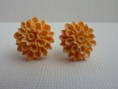 Peach Chrysanthemum Flower Stud Earrings by KristalsKreations20, $6.00