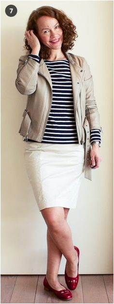 Wear my khaki blazer with my white denim skirt and navy/white striped t-shirt? Khaki Blazer, White Denim Skirt, What's Your Style, Red Sandals, Dress Codes, Navy And White, Spring Fashion, What To Wear, Chic