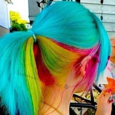 I love rainbow hair! I wish the corporate world accepted crazy hair. Neon Hair, Ombre Hair, Pastel Hair, Funky Hairstyles, Pretty Hairstyles, Rainbow Hairstyles, Latest Hairstyles, Love Hair, Gorgeous Hair